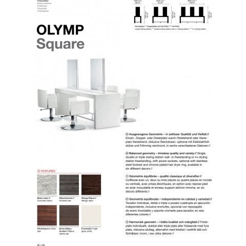 TABLE DE COIFFAGE OLYMP SQUARE