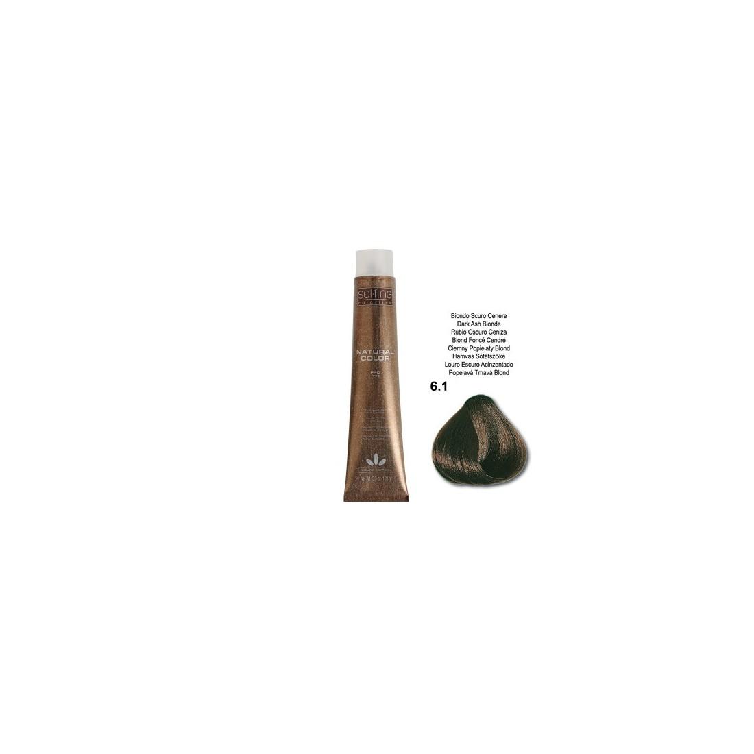 COLORATION SANS PPD - SOL.FINE - BLOND FONCE CENDRE N° 6.1 - 100 ml