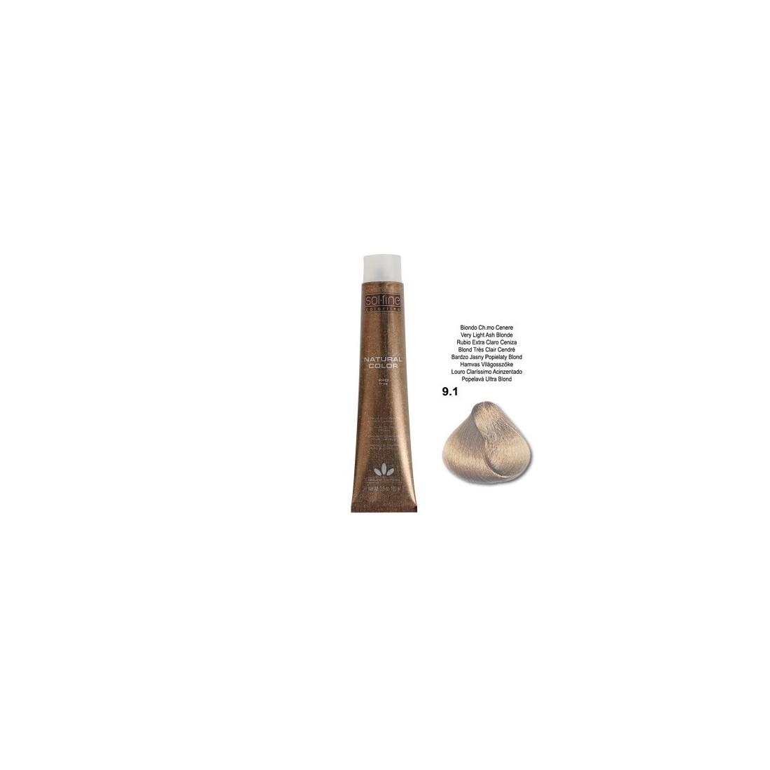 COLORATION SANS PPD - SOL.FINE - BLOND TRES CLAIR CENDRE N° 9.1 - 100 ml