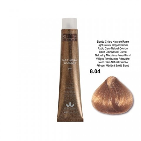 COLORATION SANS PPD - SOL.FINE - BLOND CLAIR NATUREL CUIVRE  N ° 8 . 04 - 100 ml