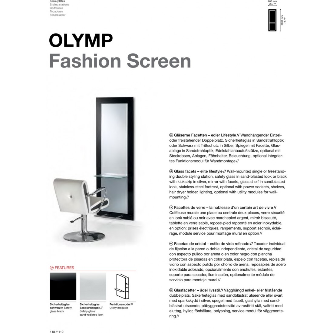TABLE DE COIFFAGE OLYMP FASHION SCREEN